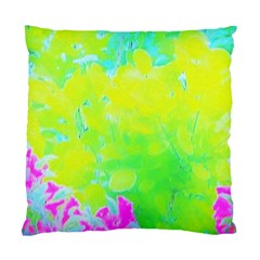 Fluorescent Yellow And Pink Abstract Garden Foliage Standard Cushion Case (one Side) by myrubiogarden