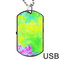 Fluorescent Yellow And Pink Abstract Garden Foliage Dog Tag Usb Flash (two Sides) by myrubiogarden