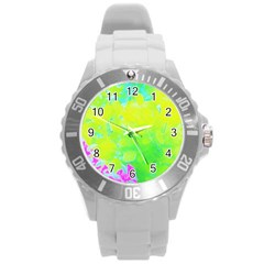 Fluorescent Yellow And Pink Abstract Garden Foliage Round Plastic Sport Watch (l)