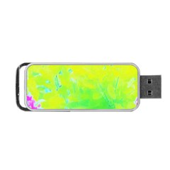 Fluorescent Yellow And Pink Abstract Garden Foliage Portable Usb Flash (two Sides) by myrubiogarden