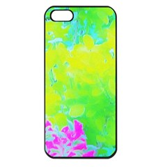 Fluorescent Yellow And Pink Abstract Garden Foliage Apple Iphone 5 Seamless Case (black) by myrubiogarden