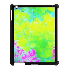 Fluorescent Yellow And Pink Abstract Garden Foliage Apple Ipad 3/4 Case (black)