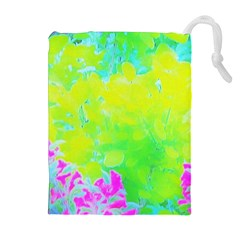 Fluorescent Yellow And Pink Abstract Garden Foliage Drawstring Pouch (xl) by myrubiogarden