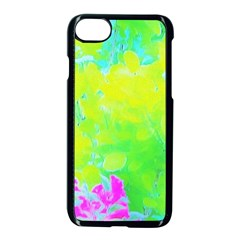 Fluorescent Yellow And Pink Abstract Garden Foliage Apple Iphone 8 Seamless Case (black) by myrubiogarden