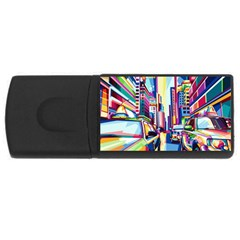 City Street Car Road Architecture Rectangular Usb Flash Drive
