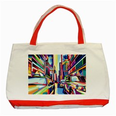 City Street Car Road Architecture Classic Tote Bag (red) by Bejoart
