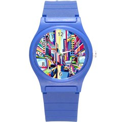 City Street Car Road Architecture Round Plastic Sport Watch (s)