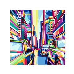 City Street Car Road Architecture Small Satin Scarf (square) by Bejoart