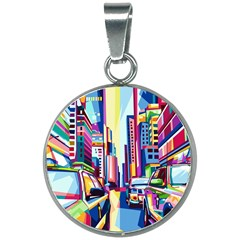 City Street Car Road Architecture 20mm Round Necklace