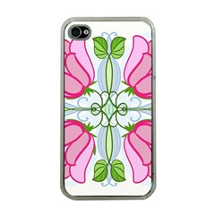 Figure Roses Flowers Ornament Apple Iphone 4 Case (clear)