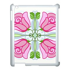 Figure Roses Flowers Ornament Apple Ipad 3/4 Case (white)
