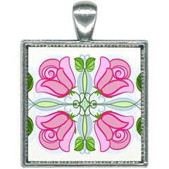Figure Roses Flowers Ornament Square Necklace