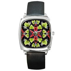 Pattern Berry Red Currant Plant Square Metal Watch