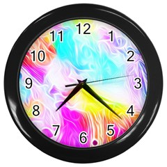 Background Drips Fluid Colorful Wall Clock (black)
