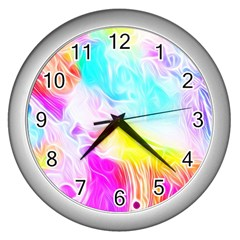 Background Drips Fluid Colorful Wall Clock (silver) by Bejoart