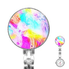 Background Drips Fluid Colorful Stainless Steel Nurses Watch by Bejoart