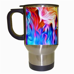 Background Drips Fluid Colorful Travel Mugs (white)