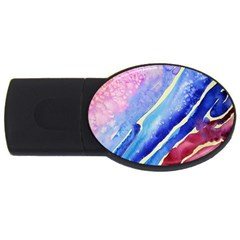 Painting Abstract Blue Pink Spots Usb Flash Drive Oval (2 Gb)