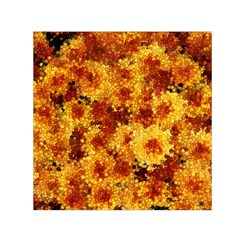 Tile Flower Autumn Chrysanthemum Small Satin Scarf (square)