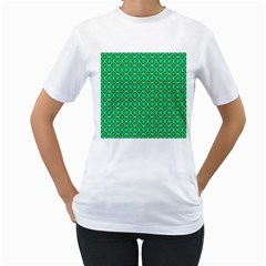 Green Texture Background Template Rustic Women s T Shirt (white) (two Sided)