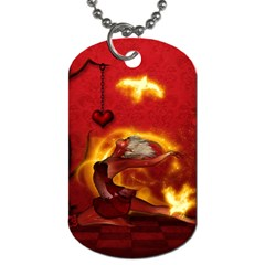 Wonderful Fairy Of The Fire With Fire Birds Dog Tag (two Sides) by FantasyWorld7