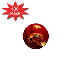 Wonderful Fairy Of The Fire With Fire Birds 1  Mini Buttons (100 Pack)