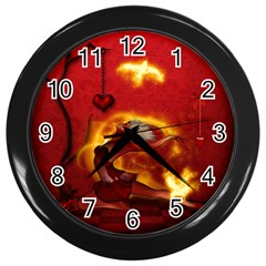 Wonderful Fairy Of The Fire With Fire Birds Wall Clock (black)