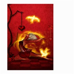 Wonderful Fairy Of The Fire With Fire Birds Small Garden Flag (two Sides) by FantasyWorld7