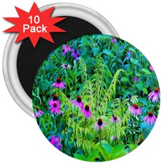 Purple Coneflower Garden With Tiger Eye Tree 3  Magnets (10 Pack)