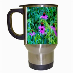 Purple Coneflower Garden With Tiger Eye Tree Travel Mugs (white) by myrubiogarden