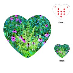 Purple Coneflower Garden With Tiger Eye Tree Playing Cards (heart)
