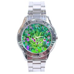 Purple Coneflower Garden With Tiger Eye Tree Stainless Steel Analogue Watch