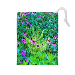 Purple Coneflower Garden With Tiger Eye Tree Drawstring Pouch (large)