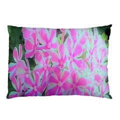 Hot Pink And White Peppermint Twist Garden Phlox Pillow Case (two Sides) by myrubiogarden