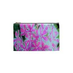 Hot Pink And White Peppermint Twist Garden Phlox Cosmetic Bag (small) by myrubiogarden