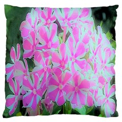 Hot Pink And White Peppermint Twist Garden Phlox Large Flano Cushion Case (one Side) by myrubiogarden
