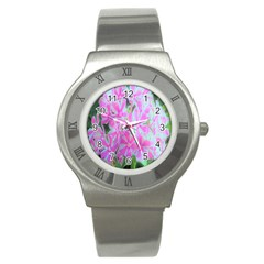 Hot Pink And White Peppermint Twist Garden Phlox Stainless Steel Watch
