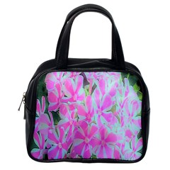 Hot Pink And White Peppermint Twist Garden Phlox Classic Handbag (one Side)