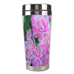 Hot Pink And White Peppermint Twist Garden Phlox Stainless Steel Travel Tumblers by myrubiogarden