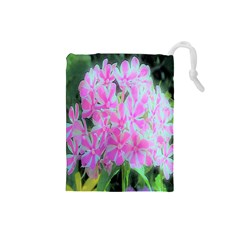 Hot Pink And White Peppermint Twist Garden Phlox Drawstring Pouch (small) by myrubiogarden