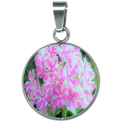 Hot Pink And White Peppermint Twist Garden Phlox 20mm Round Necklace by myrubiogarden