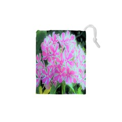 Hot Pink And White Peppermint Twist Garden Phlox Drawstring Pouch (xs) by myrubiogarden
