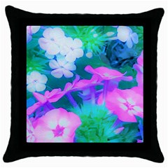 Pink, Green, Blue And White Garden Phlox Flowers Throw Pillow Case (black) by myrubiogarden