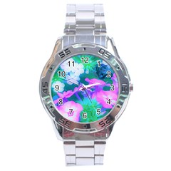 Pink, Green, Blue And White Garden Phlox Flowers Stainless Steel Analogue Watch by myrubiogarden
