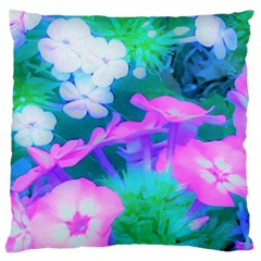 Pink, Green, Blue And White Garden Phlox Flowers Large Cushion Case (one Side) by myrubiogarden