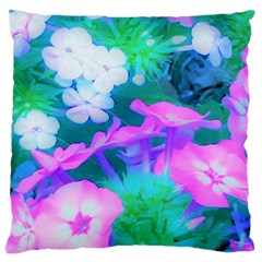Pink, Green, Blue And White Garden Phlox Flowers Large Flano Cushion Case (one Side) by myrubiogarden