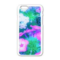 Pink, Green, Blue And White Garden Phlox Flowers Apple Iphone 6/6s White Enamel Case by myrubiogarden