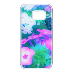 Pink, Green, Blue And White Garden Phlox Flowers Samsung Galaxy S7 White Seamless Case