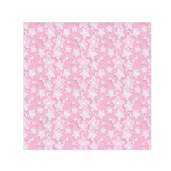 Pink Floral Background Small Satin Scarf (square)