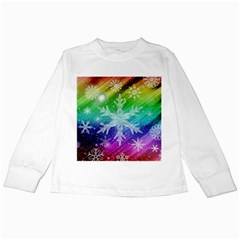 Christmas Snowflake Background Kids Long Sleeve T Shirts